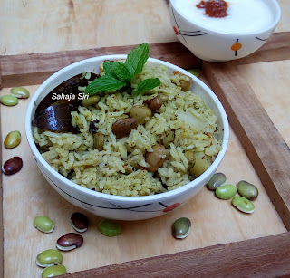 Avarekai Pudina Pulao/One pot Hyacinth Beans Mint Rice