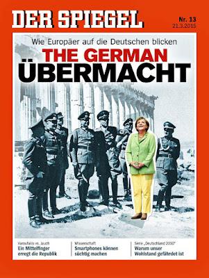 Der Spiegel Titelblatt - Angela Merkel überfällt Griechenland lustig