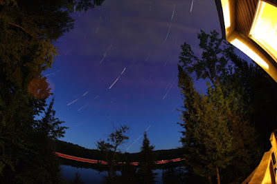 star trails from cottage assembled quickly