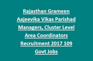Rajasthan Grameen Aajeevika Vikas Parishad Managers, Cluster Level Area Coordinators Recruitment 2017 109 Govt Jobs