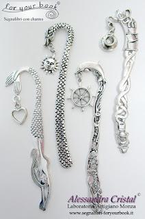 segnalibri metallo ciondoli drago sirena delfino