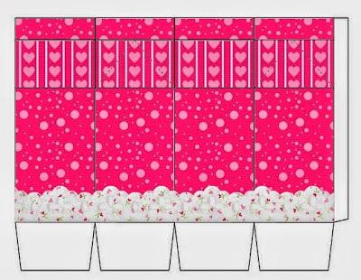 Cajas para Imprimir Gratis de Corazones Rosa.