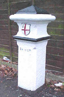 Photograph of coal post at the A1000 junction with Church Road OS ref: TL 262 022