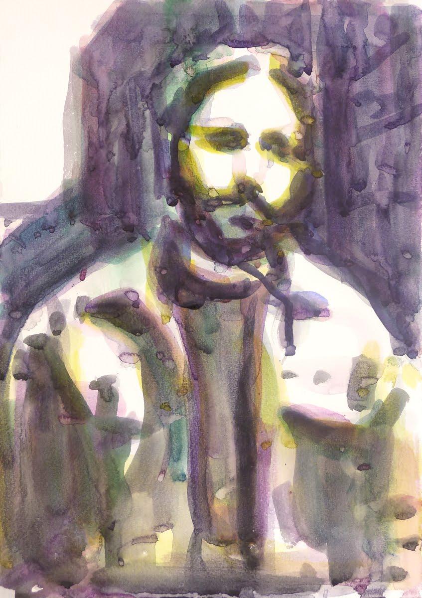 "Ohne Titel (""Ben Bensen gewidmet""), 2012 Aquarell auf Aquarellpapier, 34 x 24 cm"
