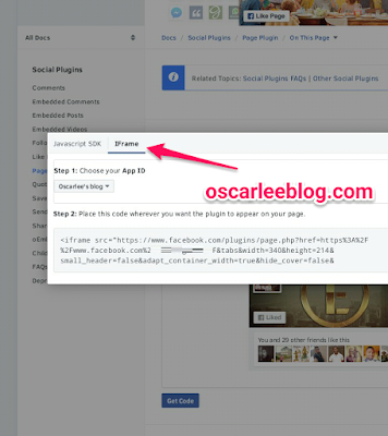 Facebook page widget for blog