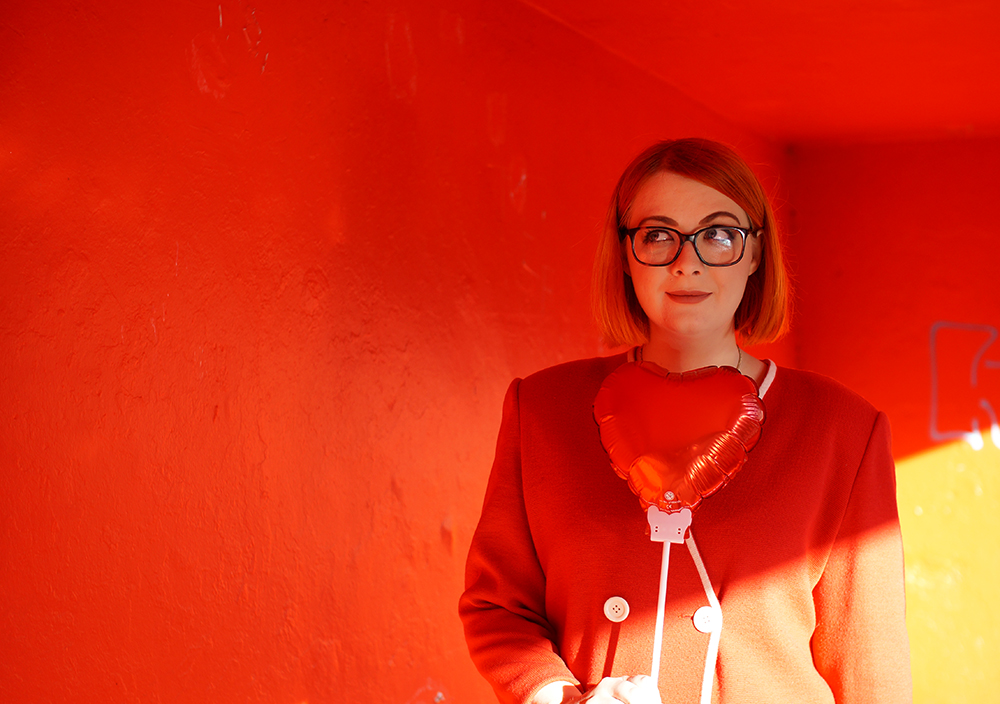 Frankly Ms Shankly, Edinburgh Blogger, red head, charity shop, H &M, New Look, Primark, vintage cardigan, Galentine's Day, red heart balloon, Valentine's style, Galentine's style, photo by Boya Shen