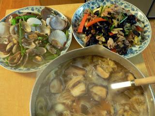 五目野菜炒め アサリとホタテのニンニクバター炒め タラ汁