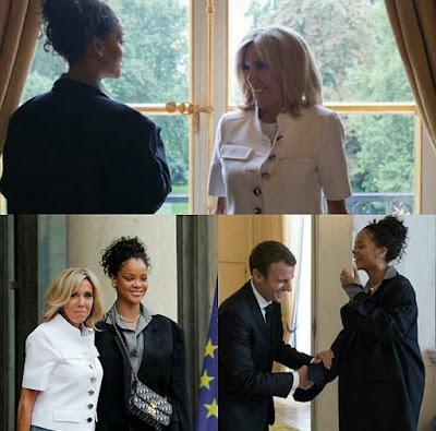 Photos : Rihanna Meets with French President Macron