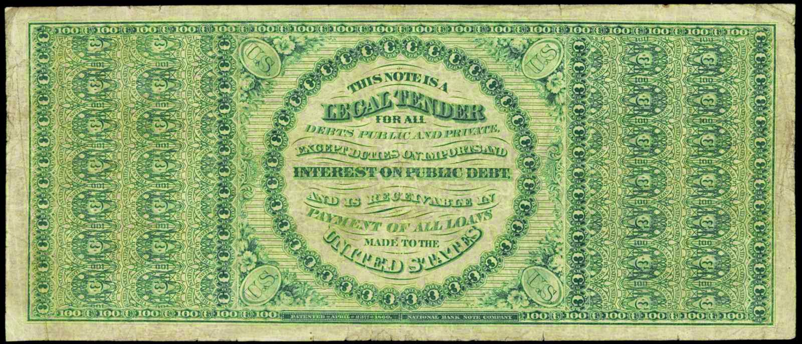 US paper money 1863 100 Dollars Legal Tender Note
