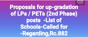 Proposals for up-gradation of LPs / PETs (2nd Phase) posts in the Districts -List of Schools-Called for -Regarding,Rc.882,Dt.15/11/18