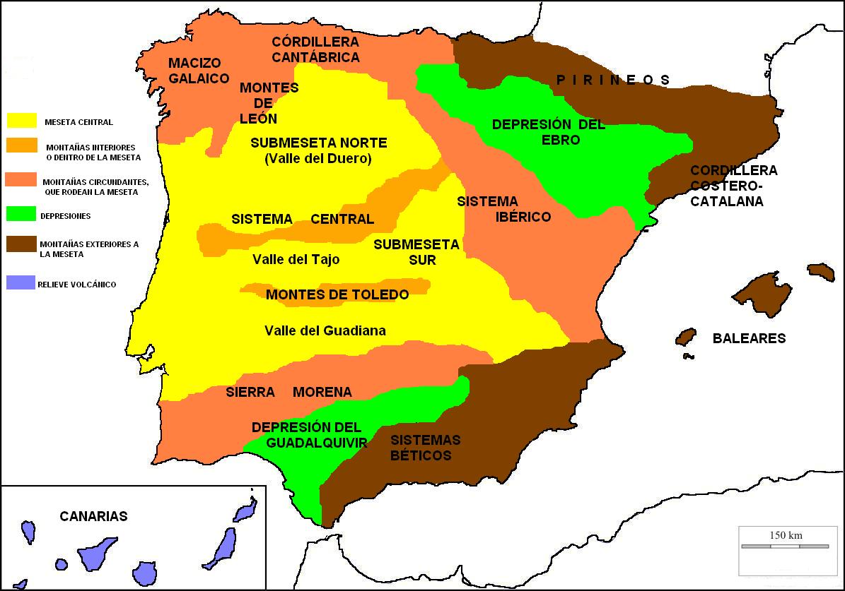 Montes De Leon Mapa.Blog De Sociales Para El Alumnado De 1º Y 2º Eso Tema 8 1º Clasificacion Del Relieve Del Peninsula Iberica