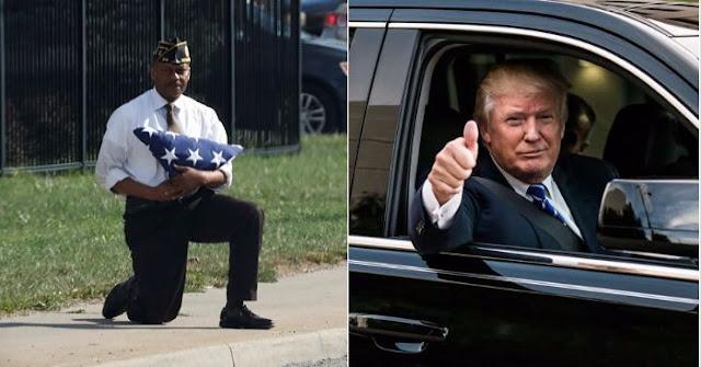 Một người Mỹ quỳ gối ôm quốc kỳ đón đoàn xe Tổng thống Trump đi qua