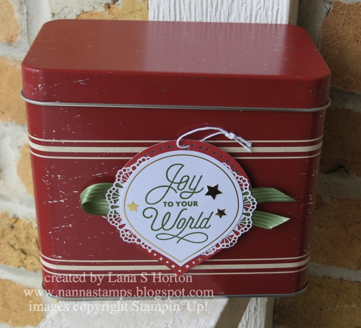 Stampin\' with Nanna: Cherry Cobbler Decorated Christmas Tin