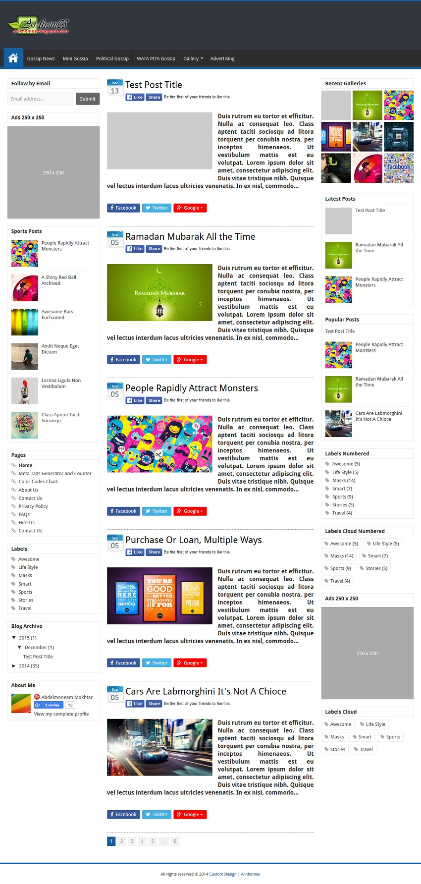 Custom B Responsive Blogger Template Demo