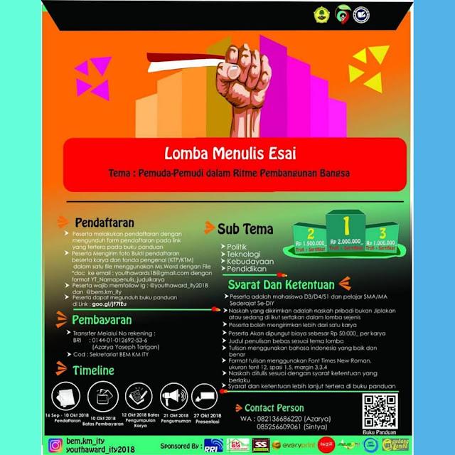 Contest Lomba Menulis Esai Youth Award ITY 2018