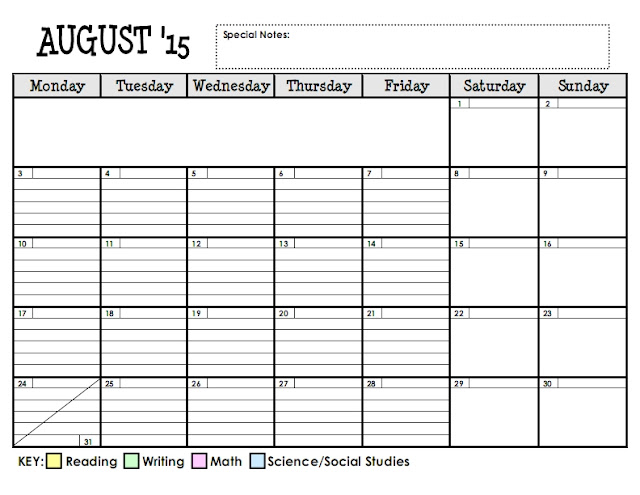 Lesson Plan Series The Planning Calendar Teaching Maddeness - Monthly lesson plan template