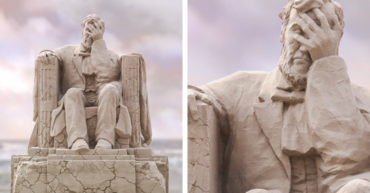 Giant Sand Sculpture Of The Lincoln Memorial With A Crumbling Base Won Festival