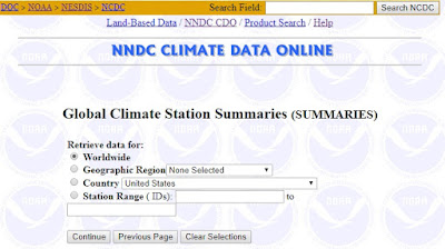 Mengakses data iklim dunia - lokasi Global Climate Station Summaries