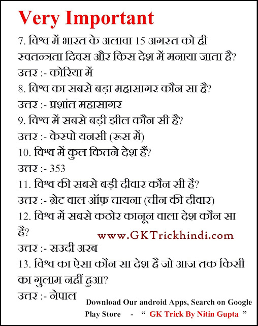 GK Trick Free E- BOOK in Hindi