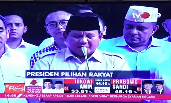 Prabowo: Hasil Quick Count Kita Menang 52,2%, Mohon Relawan untuk Mengawal Kemenangan Kita di Semua TPS
