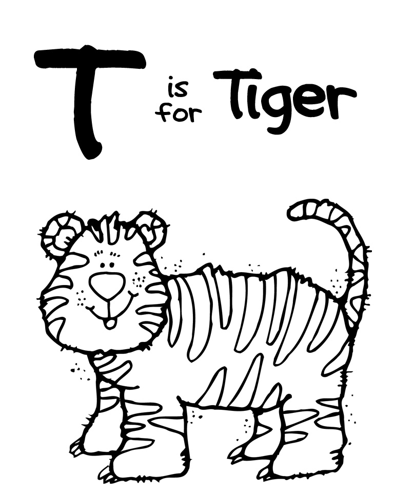 coloring pages for t | We Love Being Moms!: Letter T (Tiger)