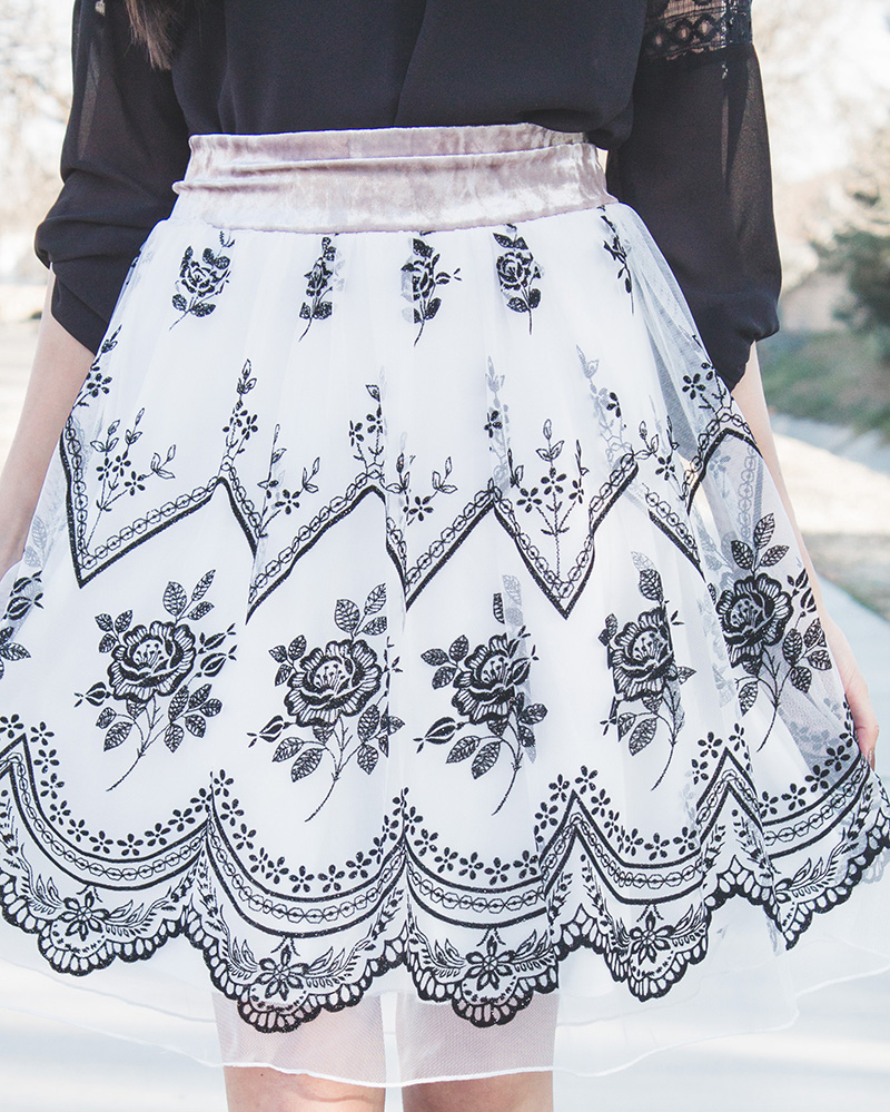 tulle velvet skirt close up