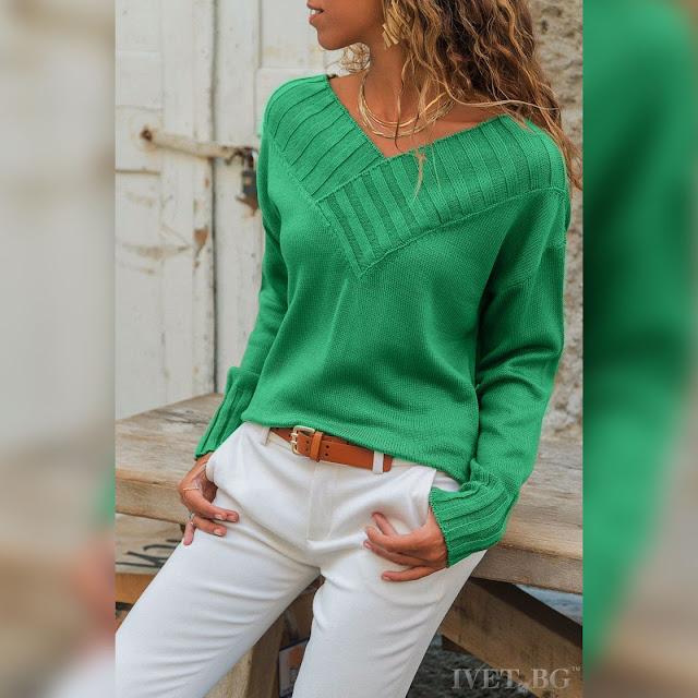 Εντυπωσιακό πράσινο γυναικείο πουλόβερ SERINA GREEN