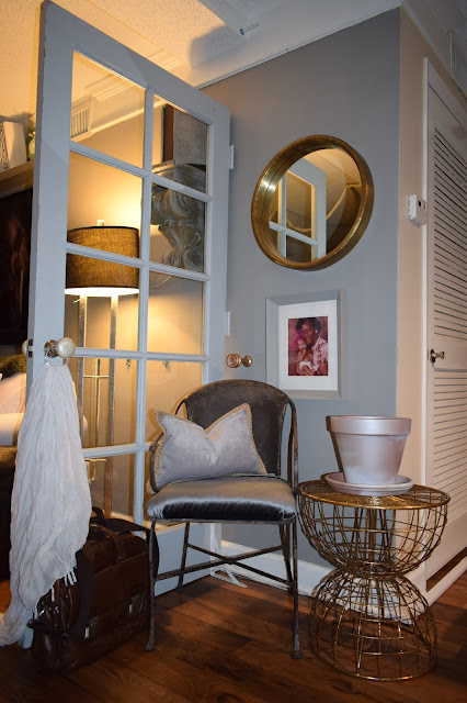 How to create a nook in a small living area;vintage chair;gold vintage round corner table; french door divider;JoFer Interiors