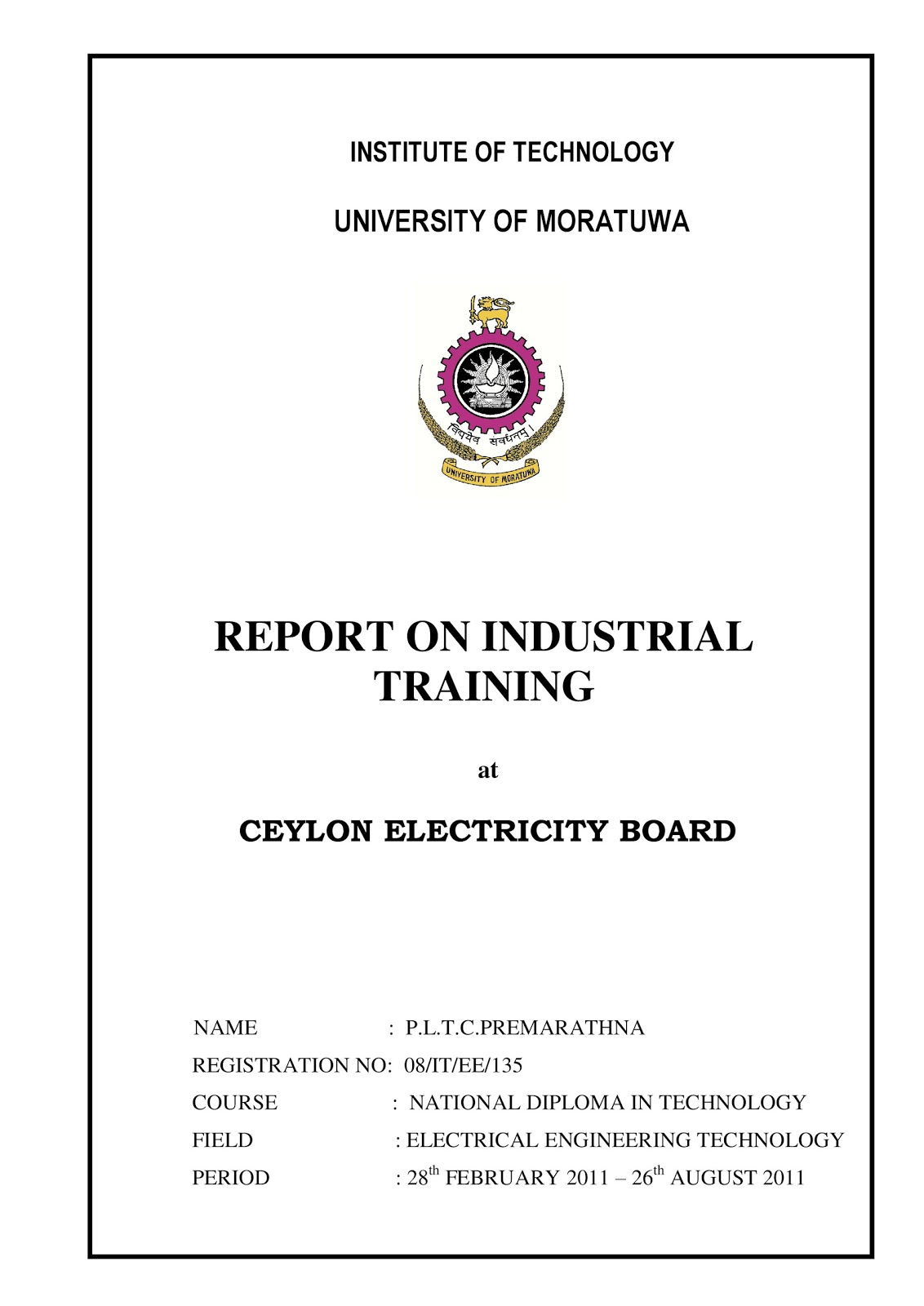 Indutrial Training Reports Industrial Training Reports 1 Electrical Engineering