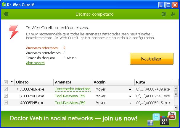 Detección amenazas Dr. Web