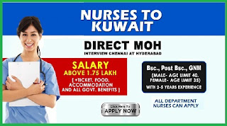 Nurses to KUWAIT DIRECT MOH -Interview at chennai and Hyderabad