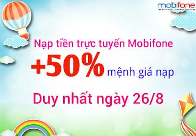 khuyến mãi nạp tiền trực tuyến Mobifone ngày 26/8