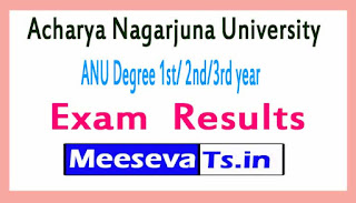 Acharya Nagarjuna University ANU Degree 1st / 2nd /3rd year Exam Result 2017