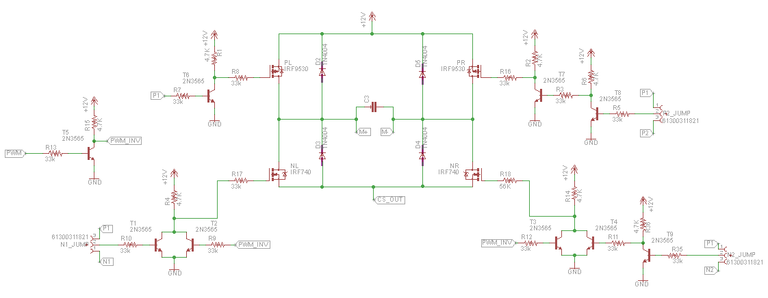 navigation robots  high current dc motor driver schematic circuit and pcb