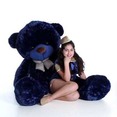 Royce Cuddles is a rich royal navy blue - and comes in sizes 2ft - 6ft