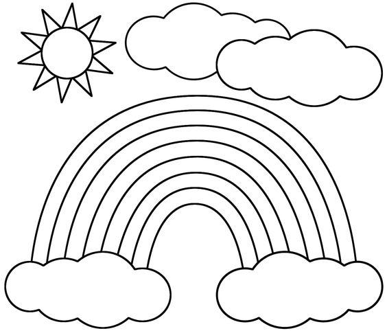 Tranh tô màu cầu vồng và mặt trời