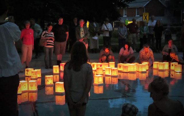 Hiroshima Day Kingston Peace Lantern Ceremony floating lanterns in the pool