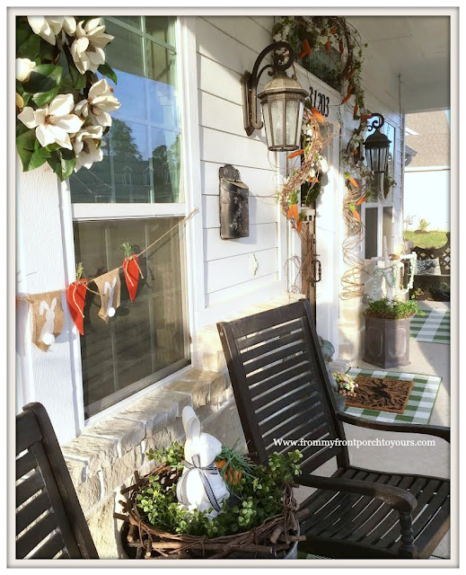 Early Spring Front Porch-Grandin Road-Rocking Chairs-Buffalo Check-Magnolia Wreath-From My Front Porch To Yours