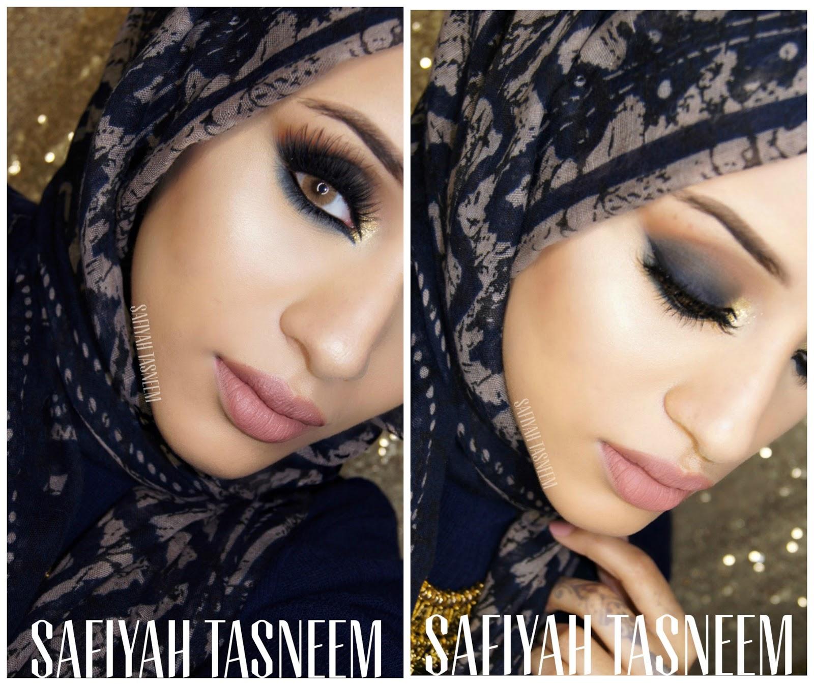 SAFIYAH TASNEEM : FF: Smokey Navy Arabic Make Up Look