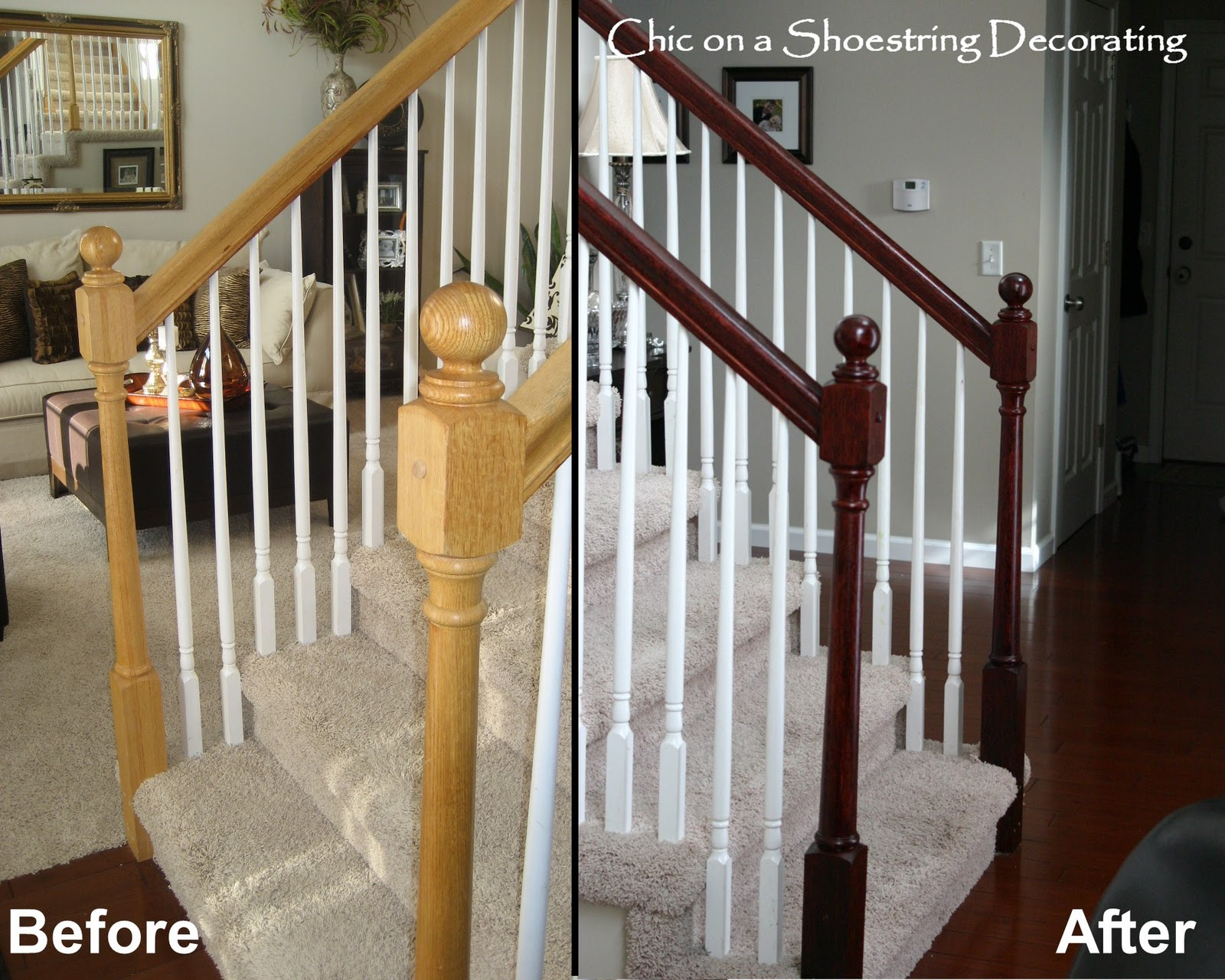 Chic On A Shoestring Decorating How To Stain Stair Railings And | Cost To Restain Stair Railing | Spindles | Refinishing Hardwood Stairs | Baluster | Sanding | Paint