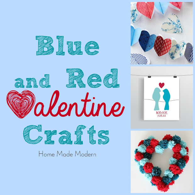 blue and red valentine decor