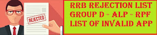 Railway RRB Rejection List 2018