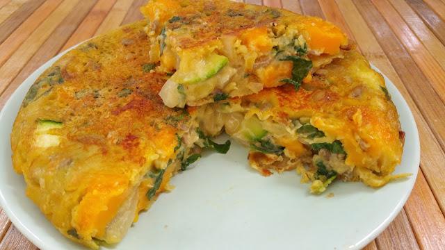 Tortilla vegana de calabacin, albahaca y queso vegano cheddar Wilmersburguer