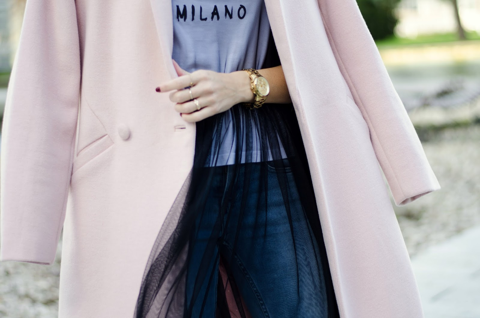 fall outfit mesh dress tshirt pink coat