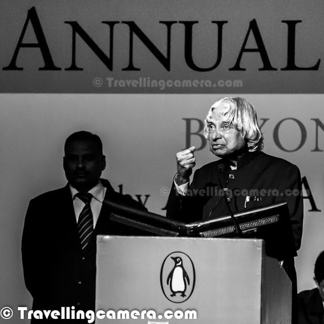 Few weeks back we met Dr A P J Abdul Kalam at India Habitat Center, where he had come for delivering annual talk for Penguin India. All of these photographs are clicked during the same event. Let's check out this Photo Journey to know about Dr Kalam and his journey into different ventures so far.  At IHC, he delivered the annual lecture on BEYOND 2020 which is his vision for India as Economically developed country. Kalam was elected the President of India in 2002, defeating Lakshmi Sahgal and was supported by both the Indian National Congress and the Bharatiya Janata Party, the major political parties of India. He is currently a visiting professor at Indian Institute of Management Ahmedabad and Indian Institute of Management Indore, Chancellor of the Indian Institute of Space Science and Technology Thiruvananthapuram, a professor of Aerospace Engineering at Anna University (Chennai), JSS University (Mysore) and an adjunct/visiting faculty at many other academic and research institutions across India.  There are many special things that people hardly know about. Dr A. P. J. Abdul Kalam's 79th birthday was recognized as World Students' Day by United Nations. He has also received honorary doctorates from 40 universities.The Government of India has honored him with the Padma Bhushan in 1981 and the Padma Vibhushan in 1990 for his work with ISRO and DRDO and his role as a scientific advisor to the Government. In 1997, Dr Kalam received India's highest civilian honour, the Bharat Ratna, for his immense and valuable contribution to the scientific research and modernization of defense technology in India.  Dr Kalam has authored various books including -     Developments in Fluid Mechanics and Space Technology    India 2020: A Vision for the New Millennium    Wings of Fire    Ignited Minds: Unleashing the Power Within India    The Luminous Sparks     Mission India    Inspiring Thoughts    Indomitable Spiri    Envisioning an Empowered Nation    You Are Born To Blossom    Turning Points: A journey through challenges After graduating from Madras Institute of Technology (MIT – Chennai) in 1960, Kalam joined Aeronautical Development Establishment of Defense Research and Development Organization (DRDO) as a chief scientist. Kalam started his career by designing a small helicopter for the Indian Army, but remained unconvinced with the choice of his job at DRDO. Kalam was also part of the INCOSPAR committee working under Vikram Sarabhai, the renowned space scientist. In 1969, Kalam was transferred to the Indian Space Research Organization (ISRO) where he was the project director of India's first indigenous Satellite Launch Vehicle (SLV-III) which successfully deployed the Rohini satellite in near earth orbit in July 1980. Joining ISRO was one of Kalam's biggest achievements in life and he is said to have found himself when he started to work on the SLV project. Kalam first started work on an expandable rocket project independently at DRDO in 1965. In 1969, Kalam received the government's approval and expanded the program to clude more engineersDr Abdul Kalam served as the 11th President of India, succeeding K. R. Narayanan. He won the 2002 presidential election with an electoral vote of 922,884, surpassing 107,366 votes won by Lakshmi Sahgal. He served from 25 July 2002 to 25 July 2007. On 10 June 2002, the National Democratic Alliance (NDA) which was in power at the time, expressed to the leader of opposition, Indian National Congress president Sonia Gandhi that they would propose Kalam for the post of President. The Samajwadi Party and the Nationalist Congress Party backed his candidacy. After the Samajwadi Party announced its support for him, President K. R. Narayanan chose not to seek a second term in office and hence left the field clear for Kalam to become the 11th President of India.In his Book India 2020, Dr Kalam strongly advocates an action plan to develop India into a knowledge superpower and a developed nation by the year 2020. He regards his work on India's nuclear weapons program as a way to assert India's place as a future superpower. It was reported that, there was a considerable demand in South Korea for translated versions of books authored by him. Dr Kalam continues to take an active interest in other developments in the field of science and technology. He has proposed a research program for developing bio-implants. He is a supporter of Open Source over proprietary solutions and believes that the use of free software on a large scale will bring the benefits of information technology to more people.