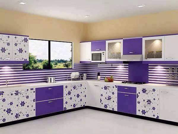 Genial White And Purple Kitchen Cabinets Design For 2016