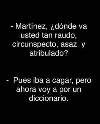 Martínez, dónde va usted tan raudo, circunspecto, asaz y atribulado? Pues iba a cagar, pero ahora voy a por un diccionario.
