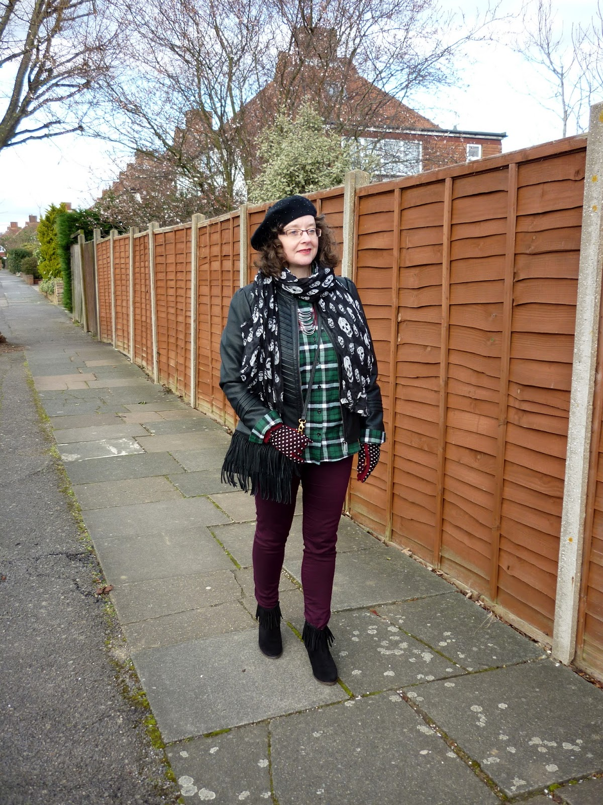 Wallis Petite Jacket, New Look Plaid Shirt, Joy Bag, Dorothy Perkins Skinnies, Skull Scarf | Petite Silver Vixen