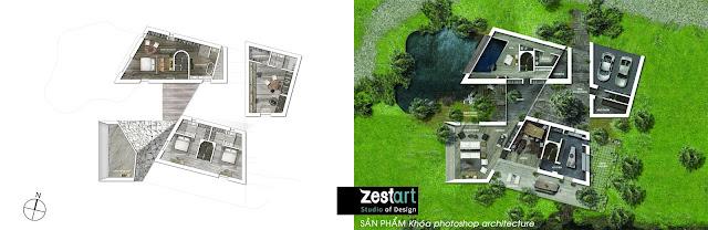 photoshop mặt bằng kiến trúc, khóa học photoshop kiến trúc