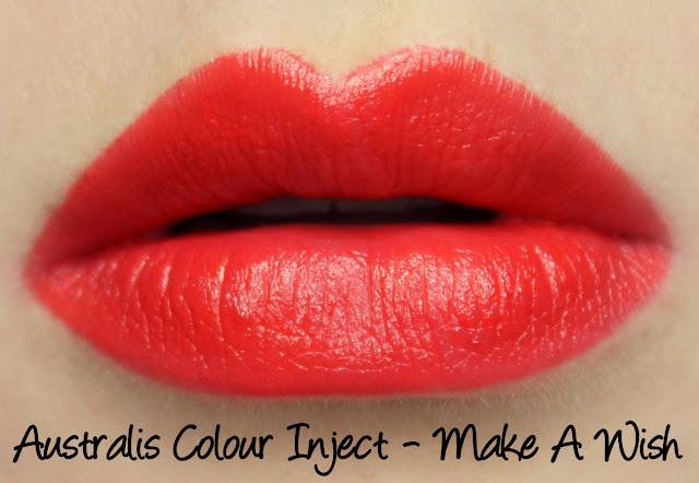 Australis Color Inject Mineral Lipstick - Make A Wish Swatches & Review
